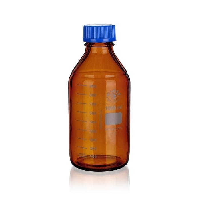 Butelki laboratoryjne z niebieską zakrętką z PP - oranżowe - Simax