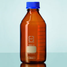 Butelki laboratoryjne ze szkła Duran z zakrętką - oranżowe - Schott