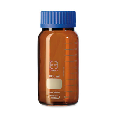 Butelki laboratoryjne ze szkła Duran z szeroką szyją - oranżowe - o poj. 250 ml - 20 l