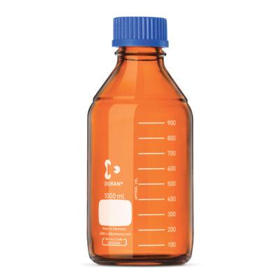 Butelki laboratoryjne ze szkła Duran z zakrętką - oranżowe - o poj. 10 ml - 10 l