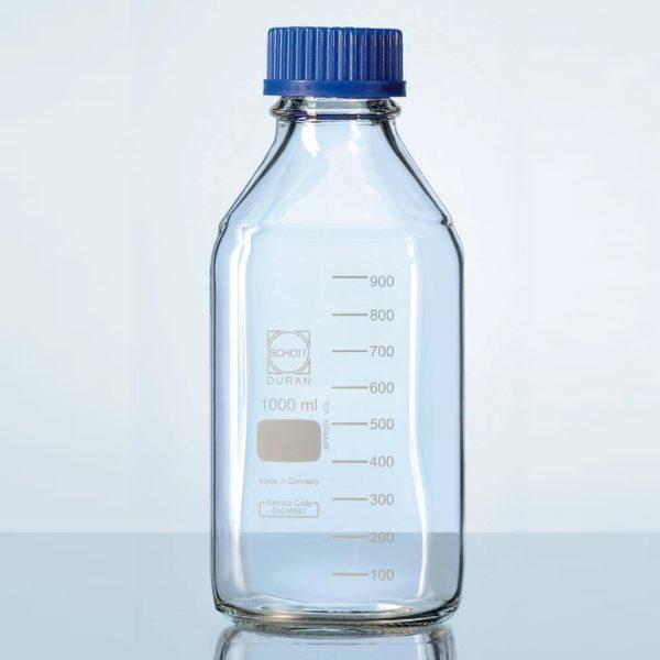 Kwadratowe butelki laboratoryjne ze szkła Duran z zakrętką - Schott
