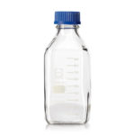 Kwadratowe butelki laboratoryjne ze szkła Duran z zakrętką - o poj. 100 ml - 1 l - b-0151 - kwadratowa-butelka-laboratoryjna-ze-szkla-duran-z-zakretka - 100-ml - 50-x-109-mm - gl-32 - 1-szt