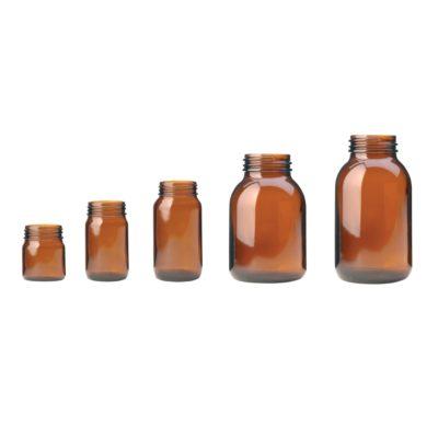 Butelki gwintowane z szeroką szyjką - oranżowe - bez zakrętek