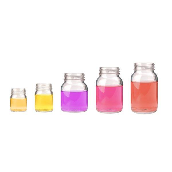 Butelki gwintowane z szeroką szyjką - przeźroczyste - bez zakrętek