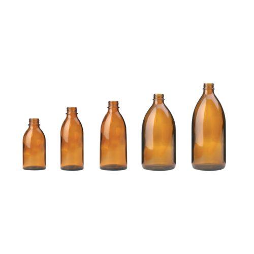 Butelki gwintowane z wąską szyjką - oranzowe - bez zakrętek