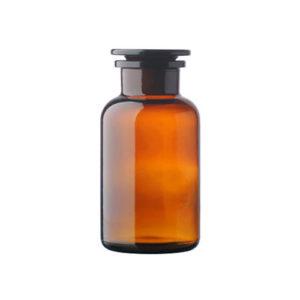 Butelki szklane ze szlifem i korkiem - oranżowe - z szeroką szyją