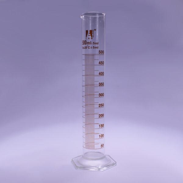 Cylinder miarowy kl. B ze szklaną stopką sześciokątną