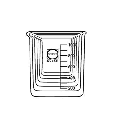 Zestaw zlewek laboratoryjnych ze szkła Duran - niskich - 1