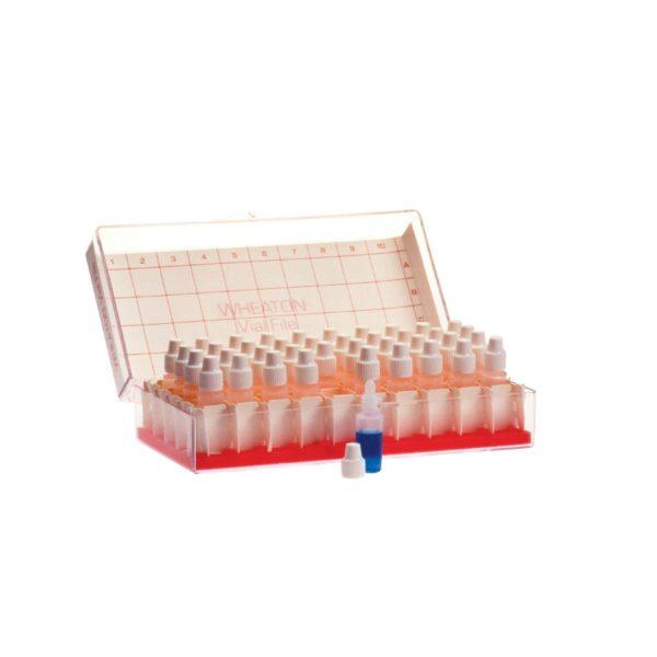 Buteleczki Wheaton z kroplomierzem (LDPE) statyw