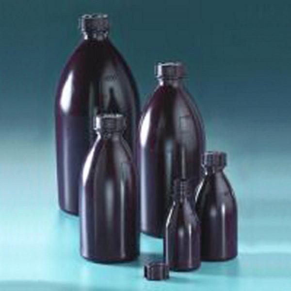 Butle brązowe z tworzywa LDPE z nakrętką - wąska szyjka