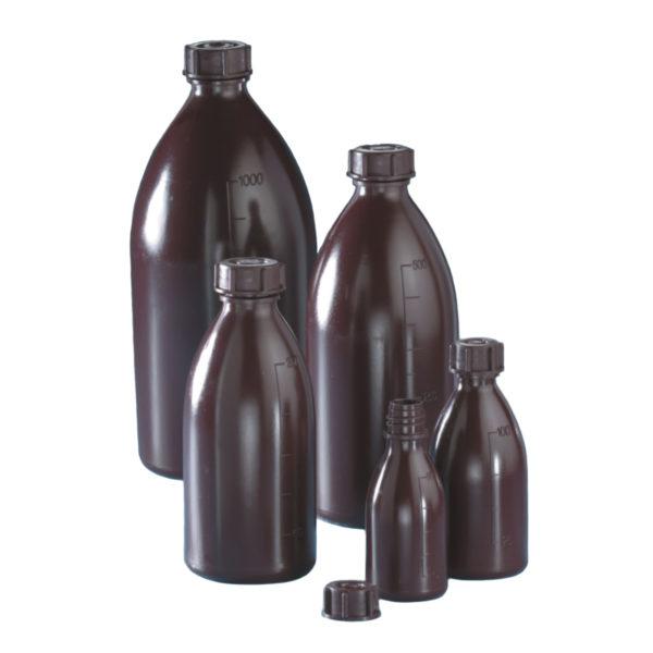 Butle brązowe z tworzywa LDPE z nakrętką - wąska szyjka - o poj. 50 ml - 1 l
