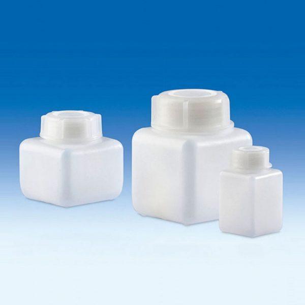 Butle z tworzywa HDPE, kwadratowe z nakrętkami