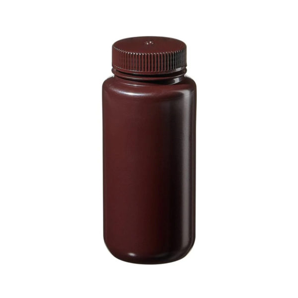 Butle z tworzywa HDPE z nakrętką - szeroka szyjka - kolor brązowy - o poj. 30 ml - 1 l
