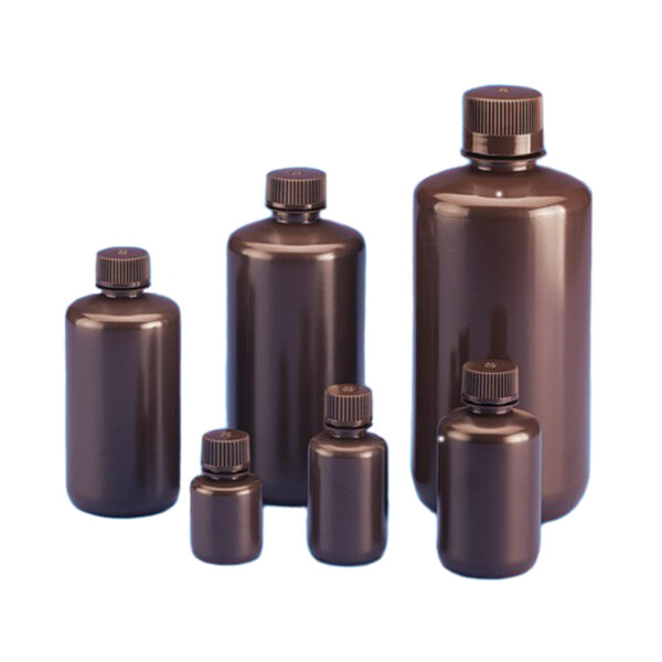 Butle z tworzywa HDPE z nakrętką - wąska szyjka - kolor brązowy - o poj. 4 ml - 1 l