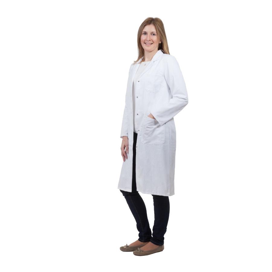 Fartuch laboratoryjny damski z wykładanym kołnierzem