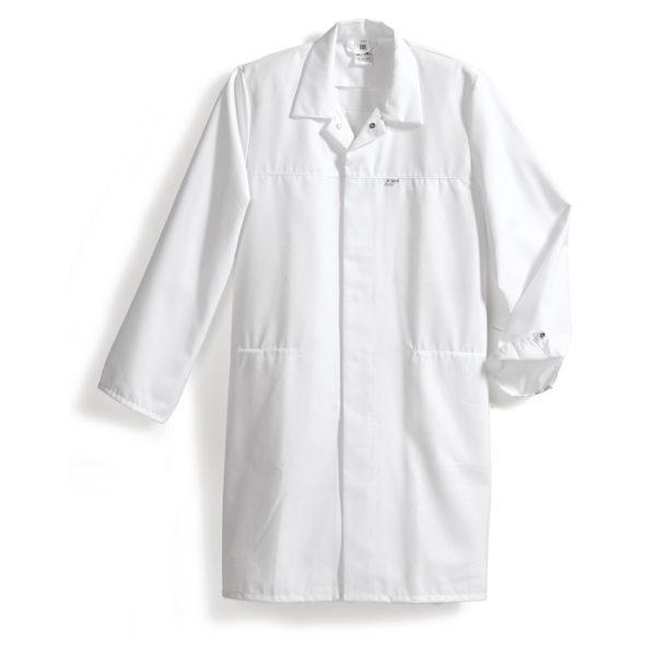Fartuch roboczy biały, zgodny z wymogami HACCP
