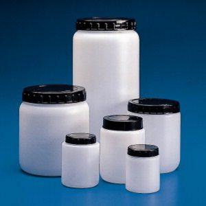 Okrągłe pojemniki z HDPE, z szeroką szyją, korkiem i zakrętką