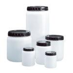 Okrągłe pojemniki z HDPE, z szeroką szyją, korkiem i zakrętką - o poj. 70 ml - 2 l - b-0406 - okragle-pojemniki-z-hdpe-z-szeroka-szyja - 70-ml - 36-mm - 50-mm - 60-mm - 10-szt