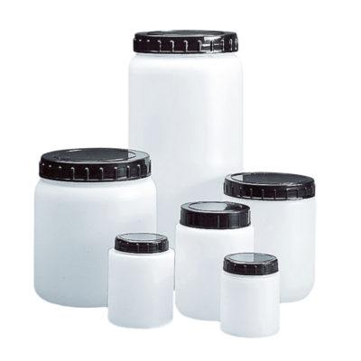 Okrągłe pojemniki z HDPE, z szeroką szyją, korkiem i zakrętką - o poj. 70 ml - 2 l