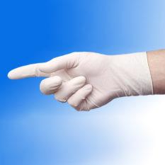 Rękawice lateksowe pudrowane