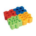 Statywy Puzzle na probówki 1,5 ml - 50 ml - b-7701 - statywy-dwustronne-puzzle-z-pp - zolty-czerwony-niebieski-zielony - 4-szt