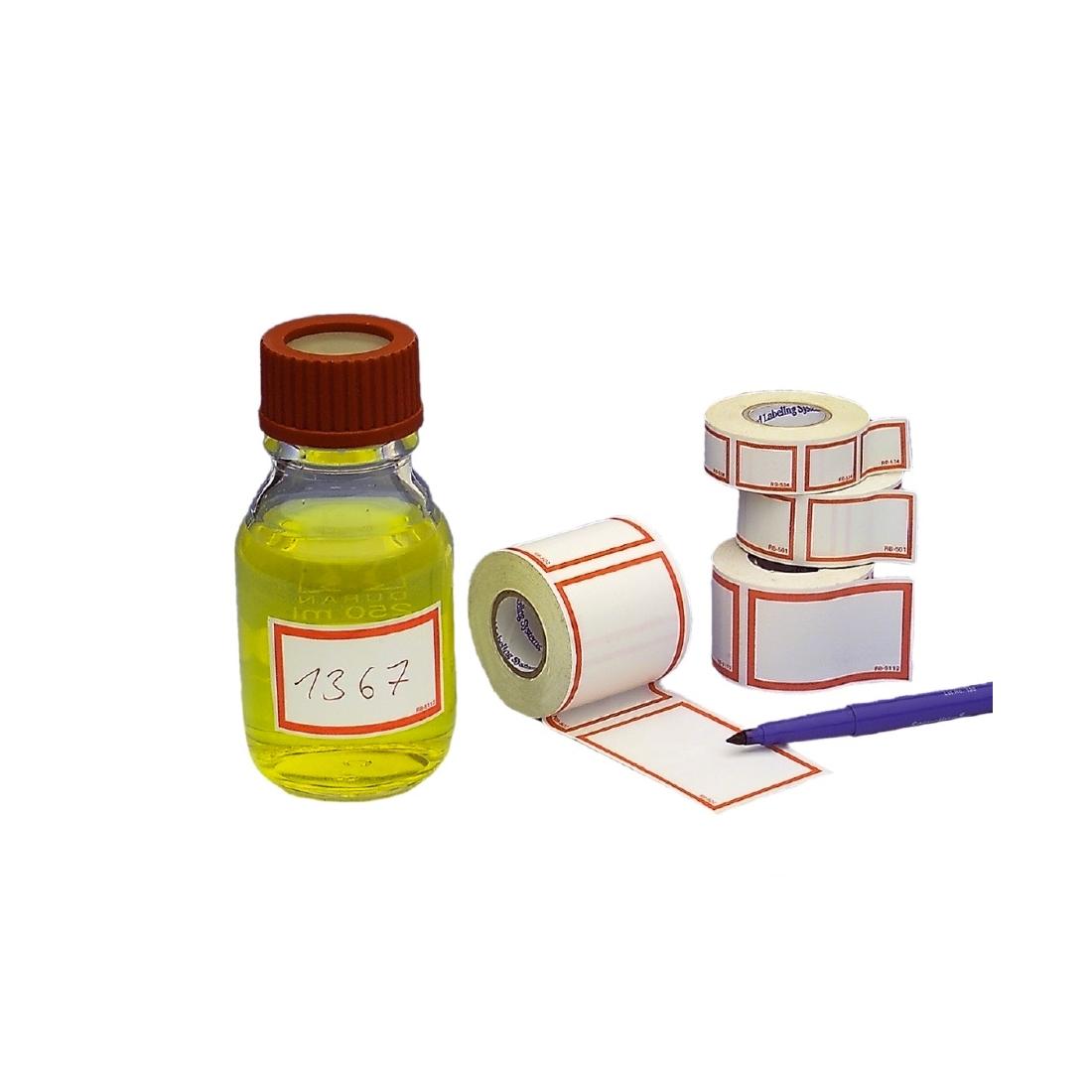 Etykiety z czerwoną ramką