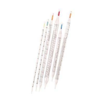 Jednorazowe pipety serologiczne z kolorowymi zatyczkami, zgodne z DIN