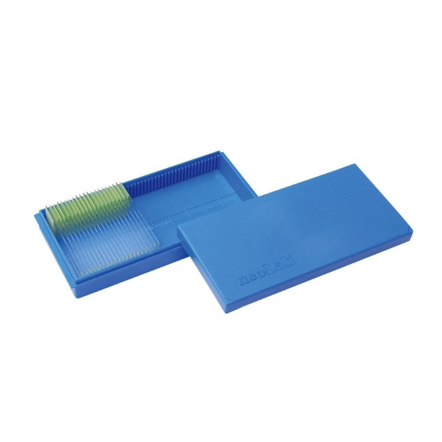 Kolorowa kasetka na 50 szkiełek podstawowych niebieski