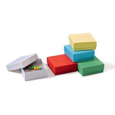 Kolorowe kriopudełka kartonowe na probówki