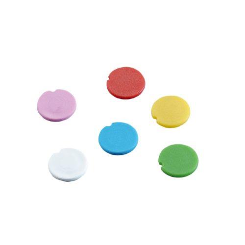 Kolorowe wkładki do zakrętek na probówki