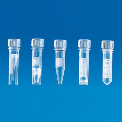 Mikroprobówki z nakrętkami z PP i silikonowymi uszczelkami, poj. 1,5 ml, sterylne