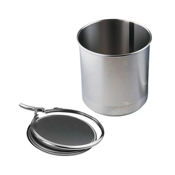 Pojemnik z pokrywą ze stali szlachetnej, z pierścieniem zaciskowym