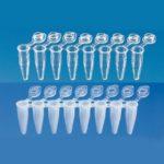 Probówki do PCR - paski 8-stanowiskowe, z indywidualnymi zintegrowanymi zamknięciami - Brand - k-0302 - probowki-do-pcr-paski-8-stanowiskowe-z-zatyczkami - 02-ml - standardowy - przezroczyste - 781332 - 120-szt