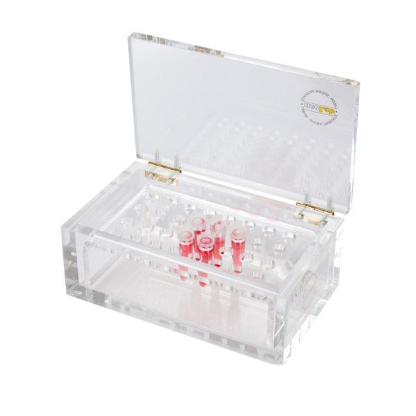 Pudełko i statywy chroniące przed promieniowaniem Beta