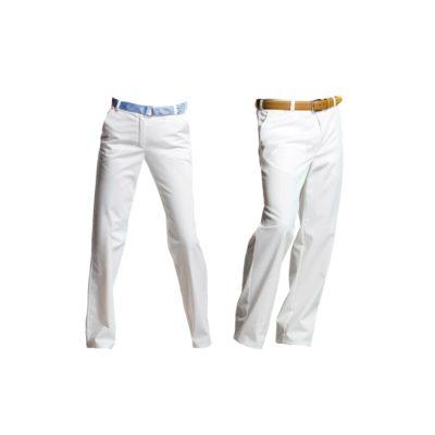 Spodnie robocze damskie-męskie, stretch, białe