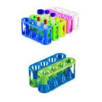 Statywy na probówki o poj. 5-50 ml, o zmiennej średnicy otworów - l-0080 - statywy-na-probowki-o-poj-5-50-ml-o-zmiennej-srednicy-otworow - niebieskizielony-zielonyniebieski - 2-szt