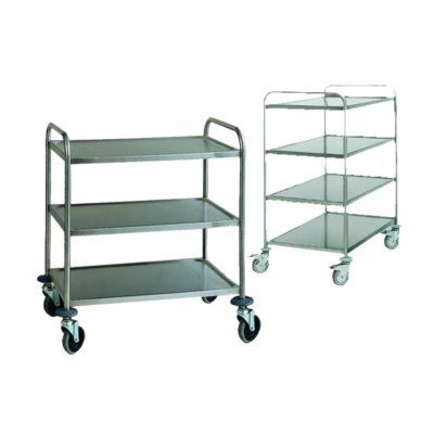 Wózek transportowy ze stali szlachetnej, 3 lub 4 piętrowy