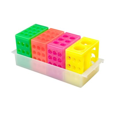 Zestaw 4 statywów uniwersalnych w jaskrawych kolorach różowym, zielonym. żółtym, pomarańczowym