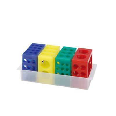 Zestaw 4 statywów uniwersalnych w różnych kolorach: czerwonym, niebieskim, żółtym, zielonym