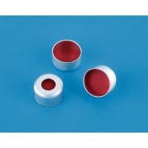 Kapsle z septą 11 mm z przezroczystego PTFE-czerwonej gumy - Agilent