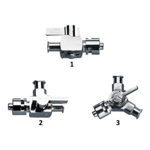 Kraniki metalowe z przyłączami Luer-Lock