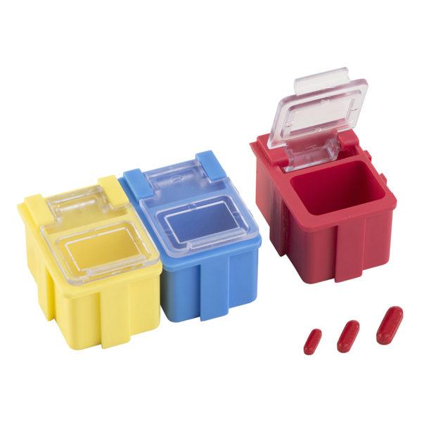 Mikromieszadełka magnetyczne w zestawie, w pudełkach