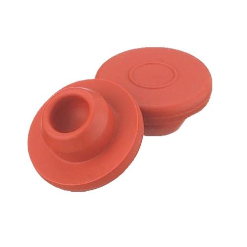 Płaskie zatyczki Wheaton z czerwonej gumy