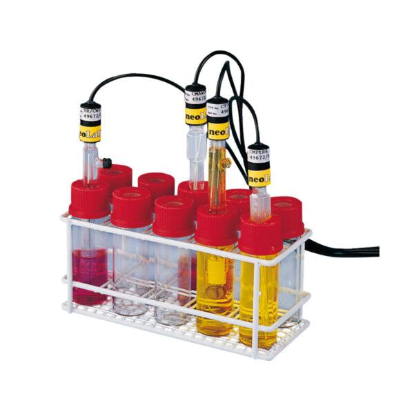 Statyw do przechowywania elektrod w komplecie z 10 butelkami