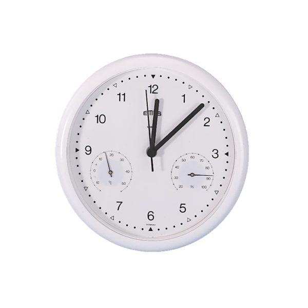 Zegar laboratoryjny o śr. 22 cm z termometrem i higrometrem - 1