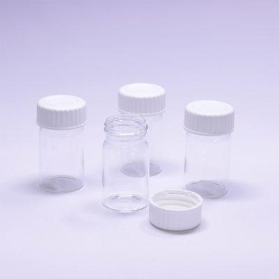 Fiolki szklane z białą nakrętką