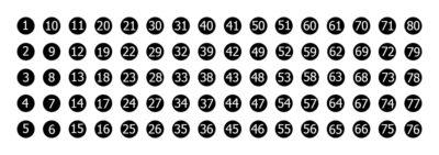 Zestaw statywów 80-miejscowych Top-Rack - schemat numeracji stanowisk