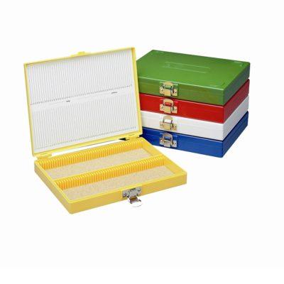 Pudełka, statywy, etui na szkiełka mikroskopowe