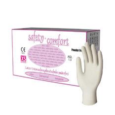Rękawice lateksowe Safety + Comfort - bezpudrowe