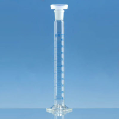 Cylindry pomiarowe BLAUBRAND® kl. A z korkiem - niebieską skalą i szklaną podstawą